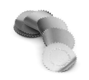 Eticheta timbru sec argintie